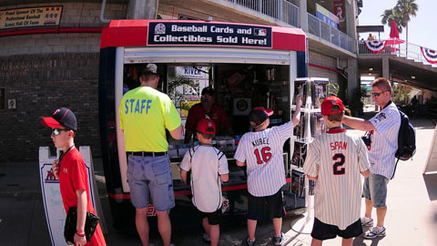 Miracle personnel sell souvenirs for the Twins during Spring Training.